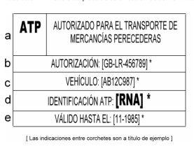 placa autorizada para transportar mercancía perecedera