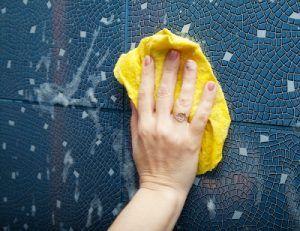 limpiando con bayeta y productos-quimicos