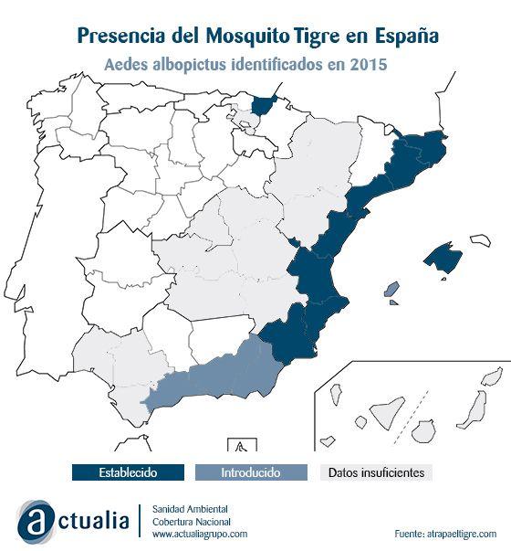 mapa de la expansión del mosquito tigre 2015
