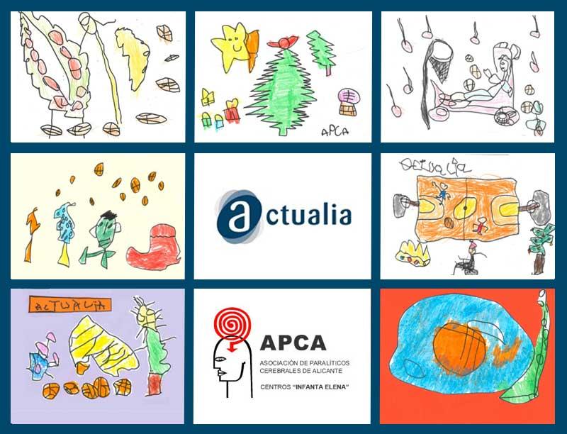 collage de tarjetas de Navidad confeccionadas por APCA