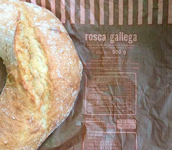 información nutricional de una rosca de pan