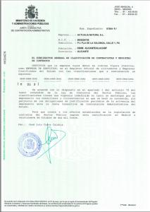 Certificación de Clasificación Empresarial de Actualia