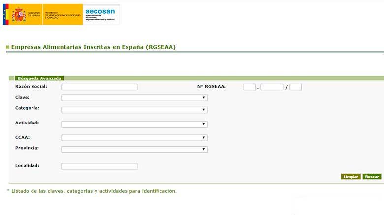 página de la inscripción del registro sanitario RGSEAA