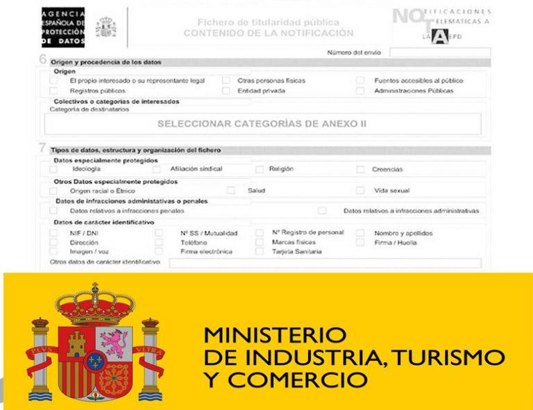 solicitud del Ministerio de protección de datos