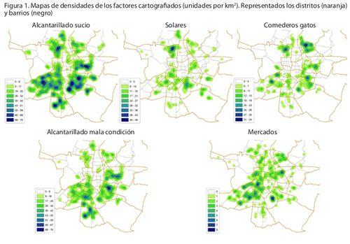 varios mapa de calor con el nivel de roedores en Madrid