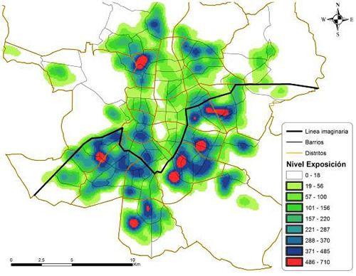 mapa de calor con el nivel de roedores en Madrid