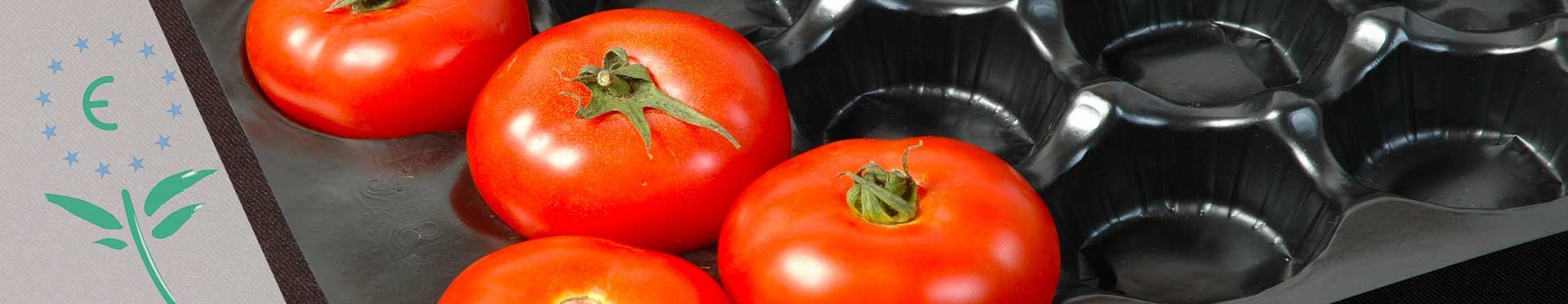 Ecoetiqueta en paquete de tomates