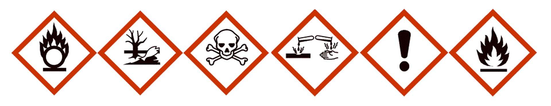 logos de productos químicos almacenados