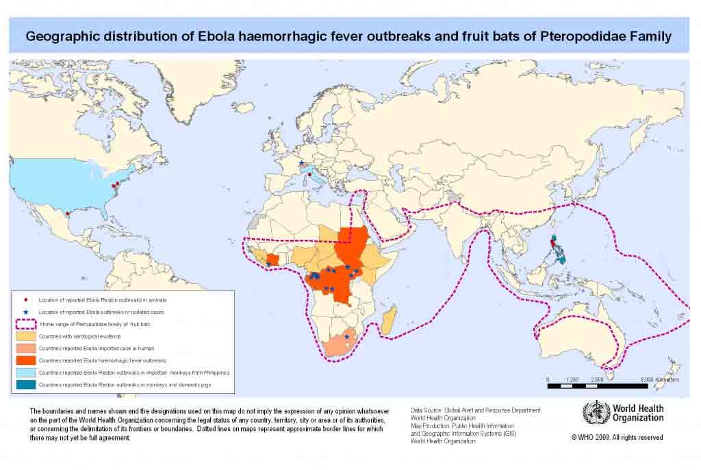 mapa de la propagación del ébola